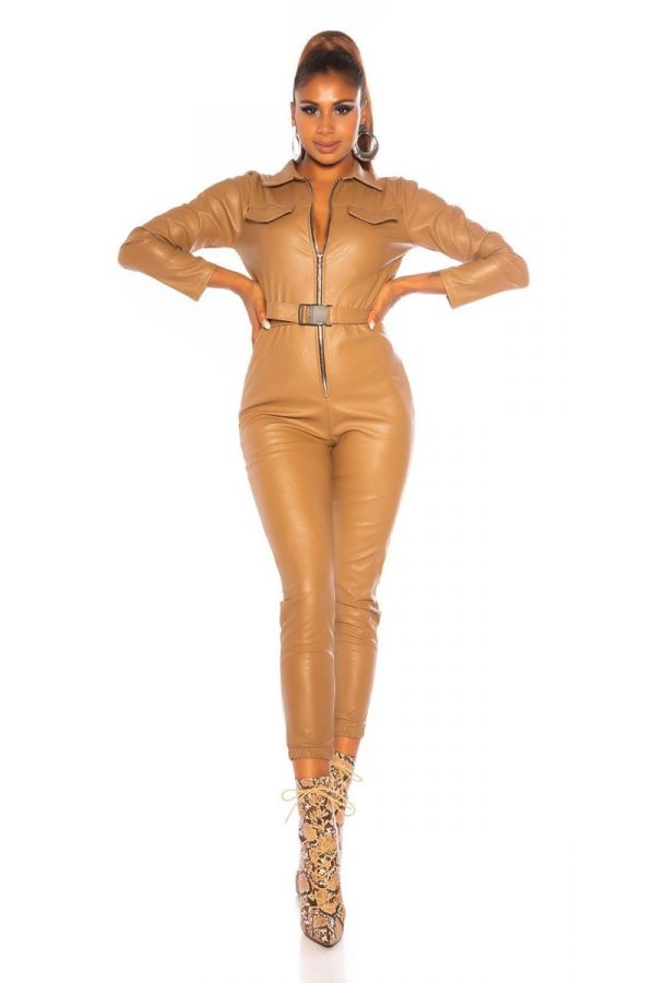 JUMPSUIT ZIPPER LEATHERETTE CAMEL ISDV824929