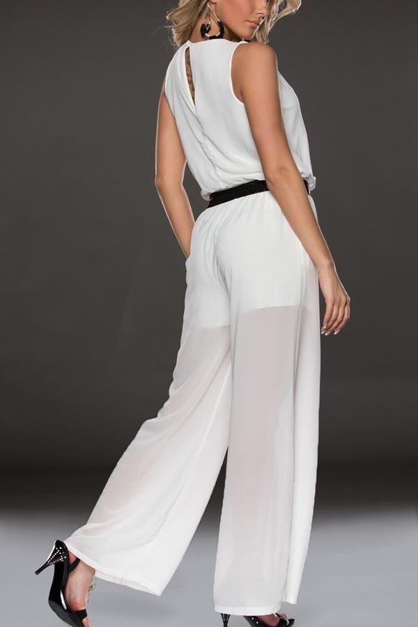 jumpsuit transparency wide legs white.