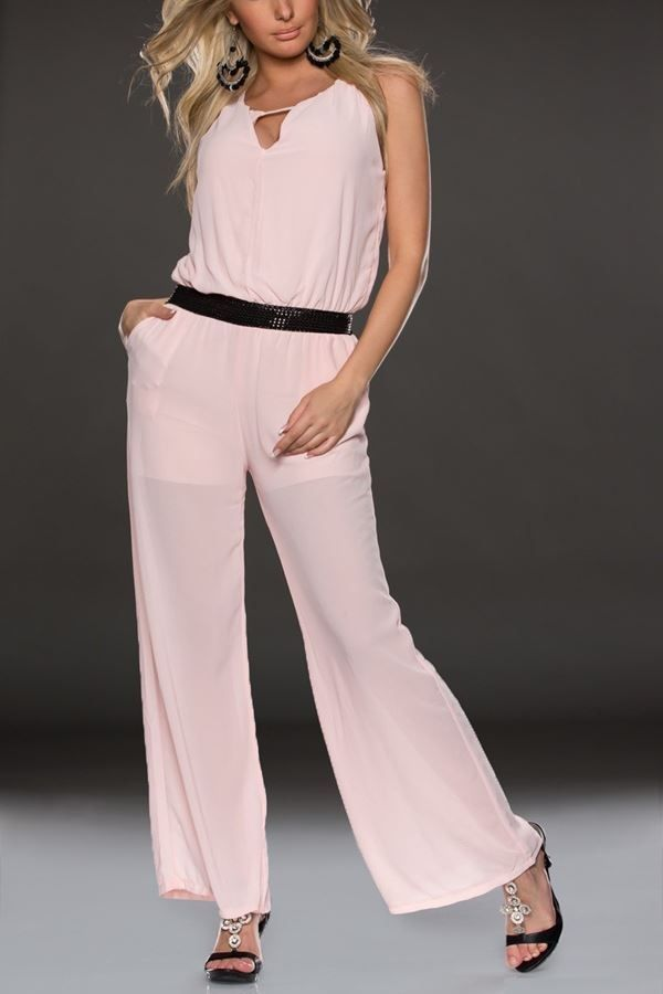 jumpsuit transparency wide legs pink.