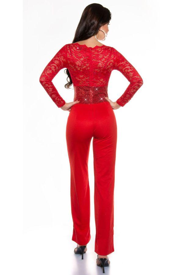 ολόσωμη φόρμα βραδινή δαντέλα παγιέτες κόκκινη.