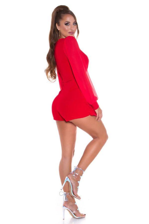 jumpsuit short pants asymmetric red.