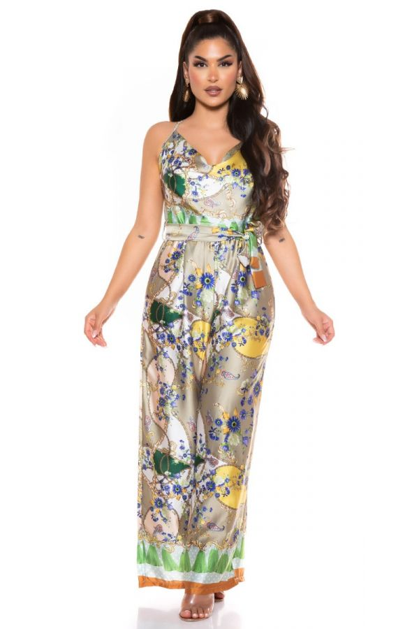 jumpsuit wide luxury colorful olive.