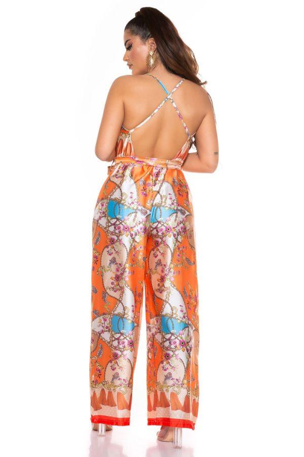 ολόσωμη φόρμα φαρδιά luxury πολύχρωμη πορτοκαλί.