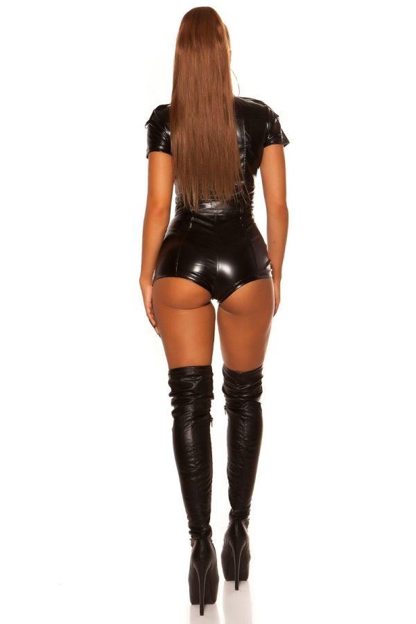 ολόσωμη φόρμα κοντό παντελόνι δερματίνη μαύρη.