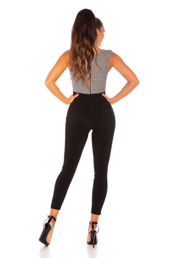 jumpsuit sleeveless black white.
