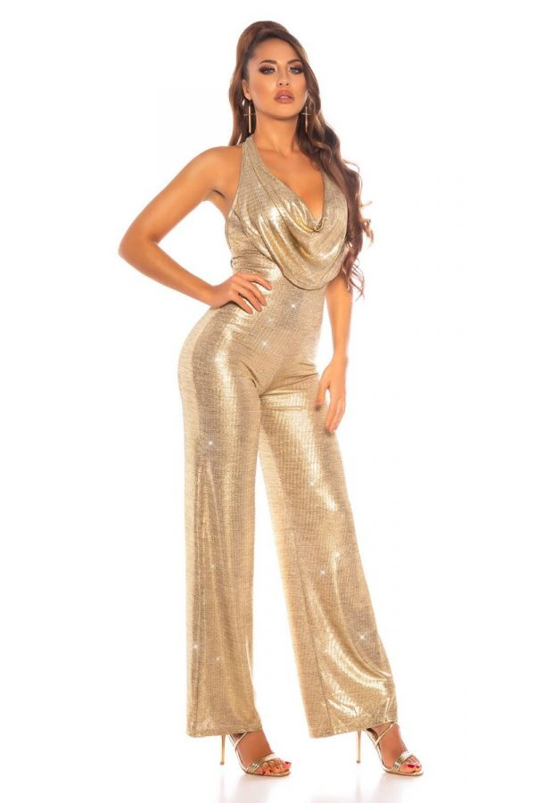 jumpsuit evening sexy gold.