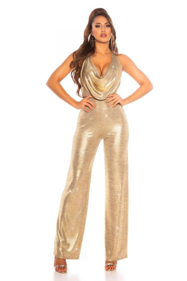 JUMPSUIT EVENING SEXY GOLD ISDK202963