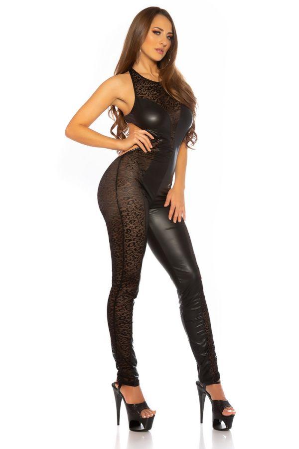 ολόσωμη φόρμα σέξι δαντέλα δερματίνη μαύρη.