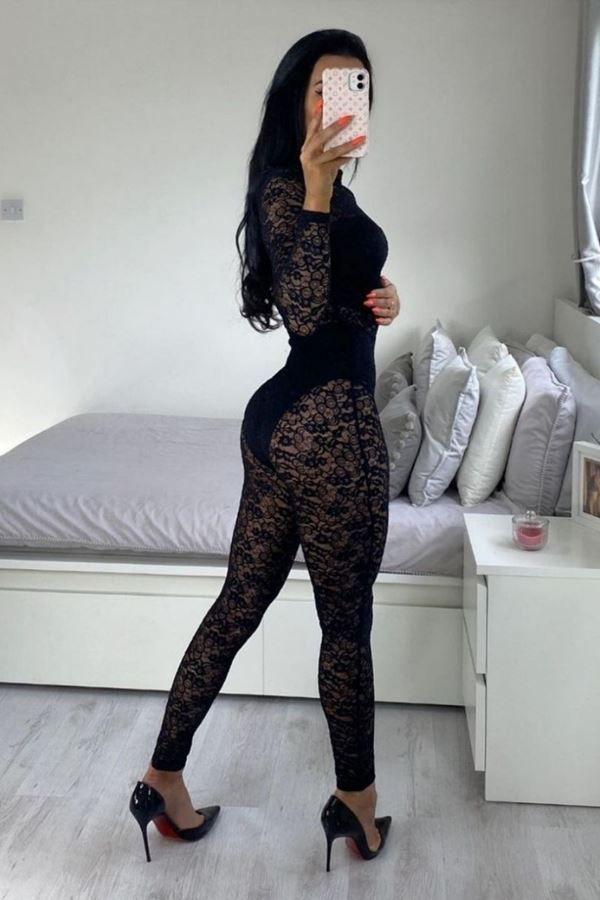 JUMPSUIT SEXY LACE BLACK PARN13553