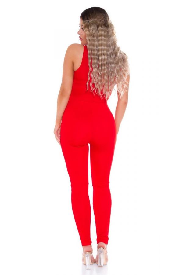 jumpsuit sexy bustier red.