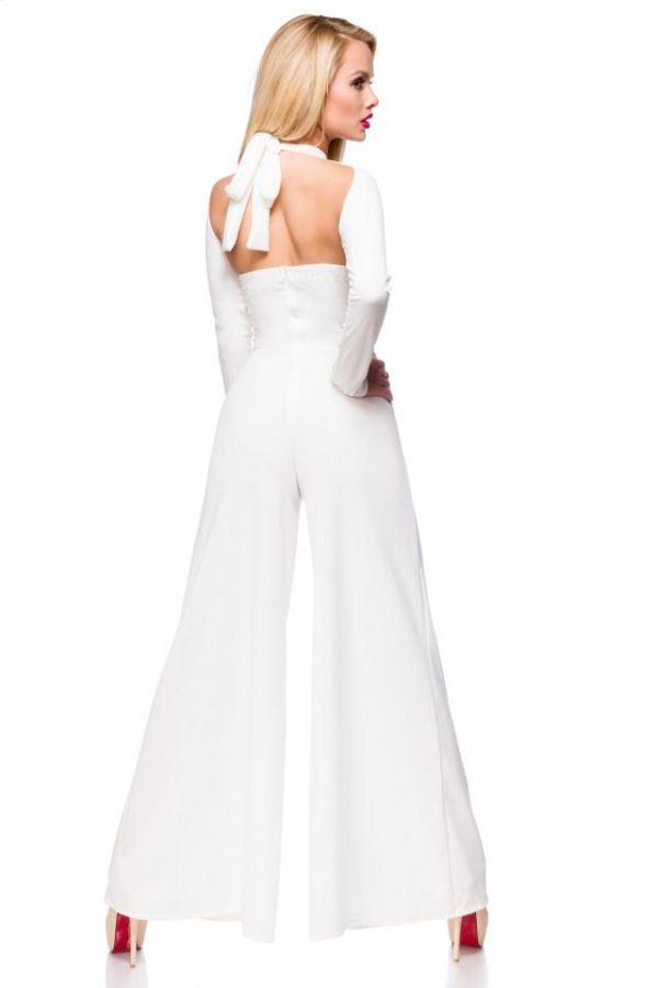 ολόσωμη φόρμα σέξι καμπάνα εγκοπές άσπρη.