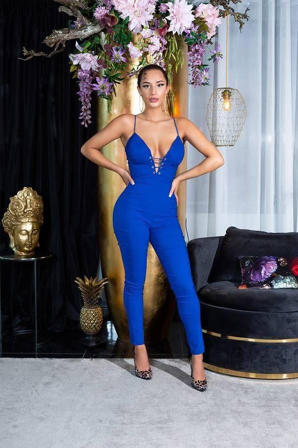 Ολόσωμη Φόρμα Σέξι Ντεκολτέ Αμάνικη Μπλε ISDV042022