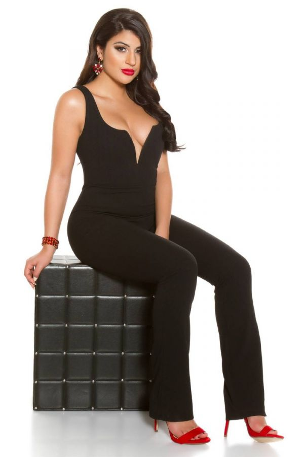 JUMPSUIT EVENING SEXY DECOLLETE BLACK ISDV630111
