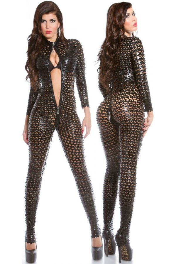 JUMPSUIT SEXY PERFORATED ZIPPER BLACK ISDV18262