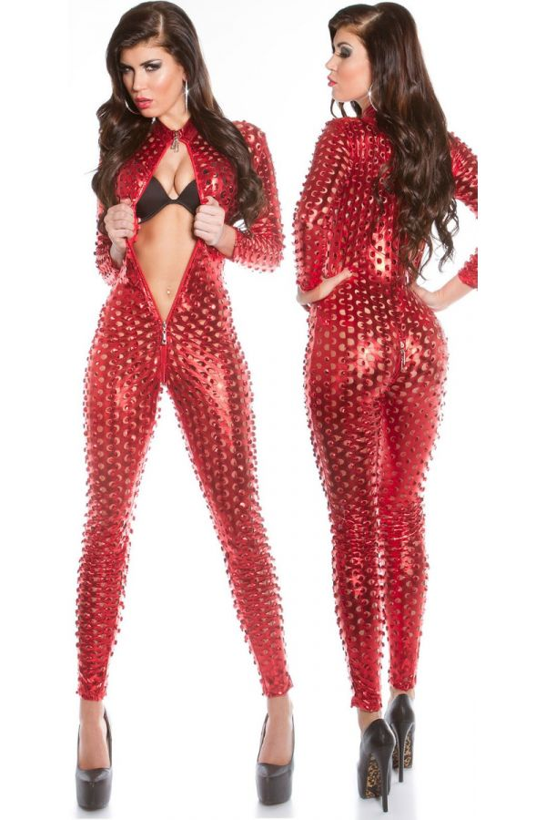 JUMPSUIT SEXY PERFORATED ZIPPER RED ISDV18262