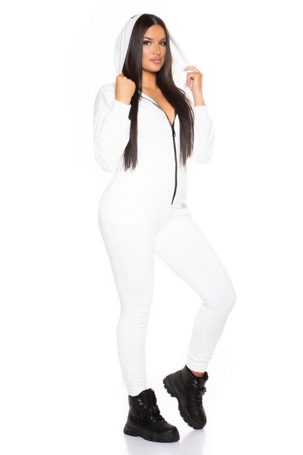 ολόσωμη φόρμα σπορ κουκούλα άσπρη.