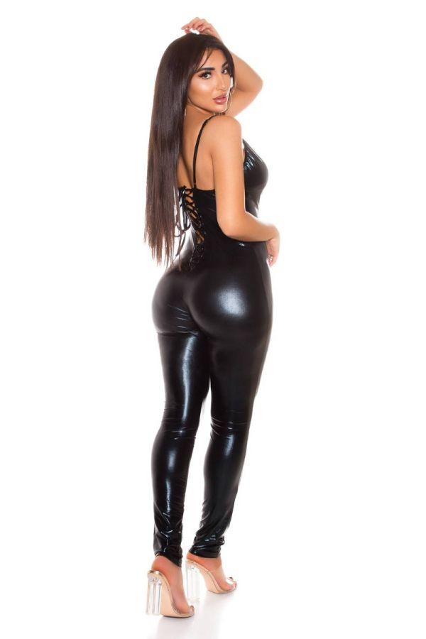 Ολόσωμη Φόρμα Σέξι Wetlook Μαύρη ISDV183779