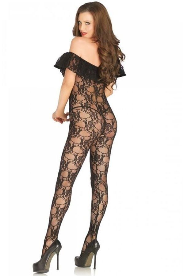 BODYSTOCKING SEXY FLORAL LACE OFF SHOULDER BLACK DRED226717