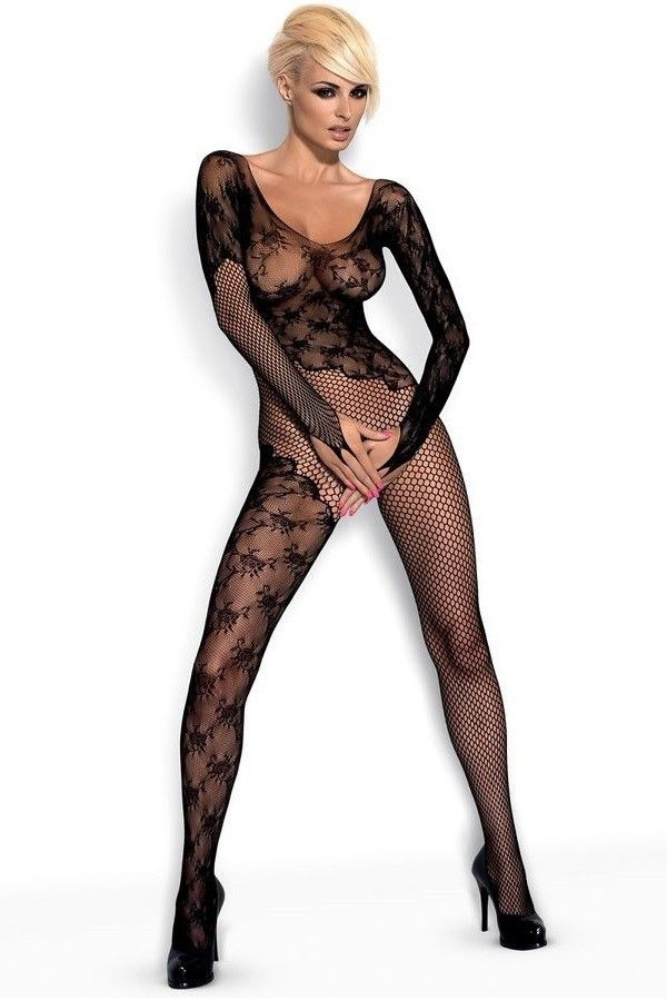 BODYSTOCKING FLORAL LACE LONG SLEEVES BLACK DRED199545