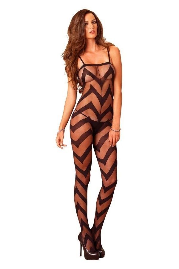 BODYSTOCKING SEXY TRANSPARENCY OPEN CTROTH BLACK DRED223303