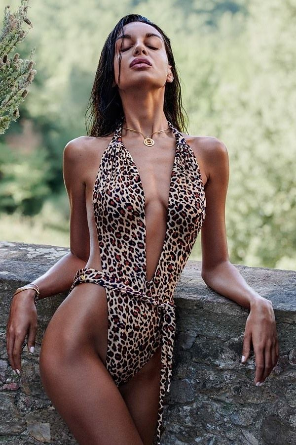 SWIMSUIT ONE PIECE SEXY DECOLLETE OPEN BACK LEOPARD SPAOB20466