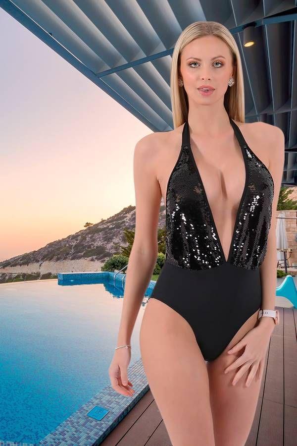 monokini brazil swimsuit sexy decollete sequins black.