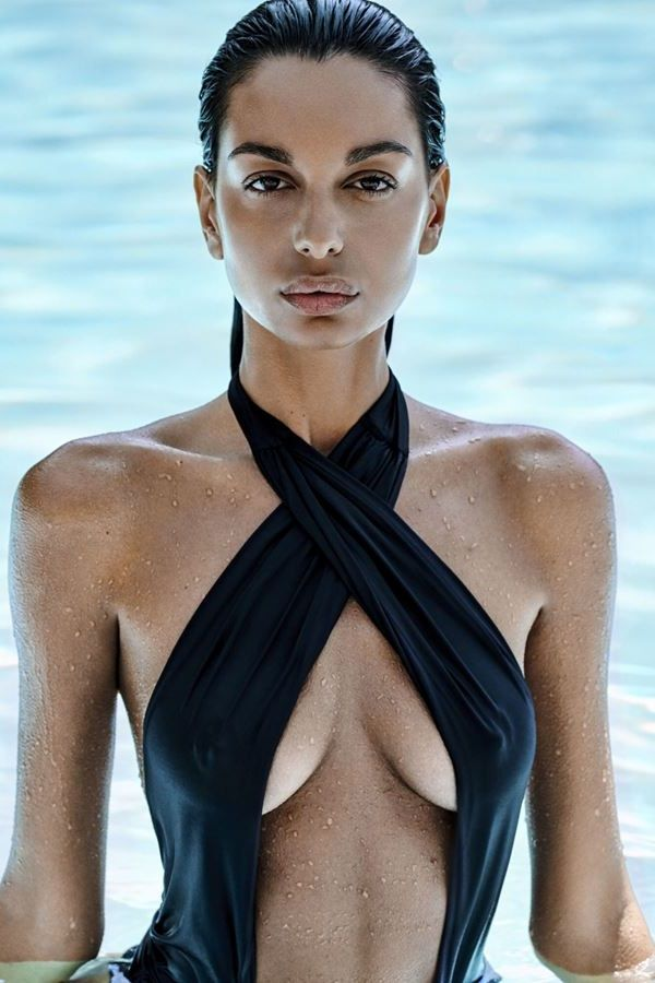 SWIMSUIT ONE PIECE CROSS NECK OPEN BACK BLACK SPAOB20460