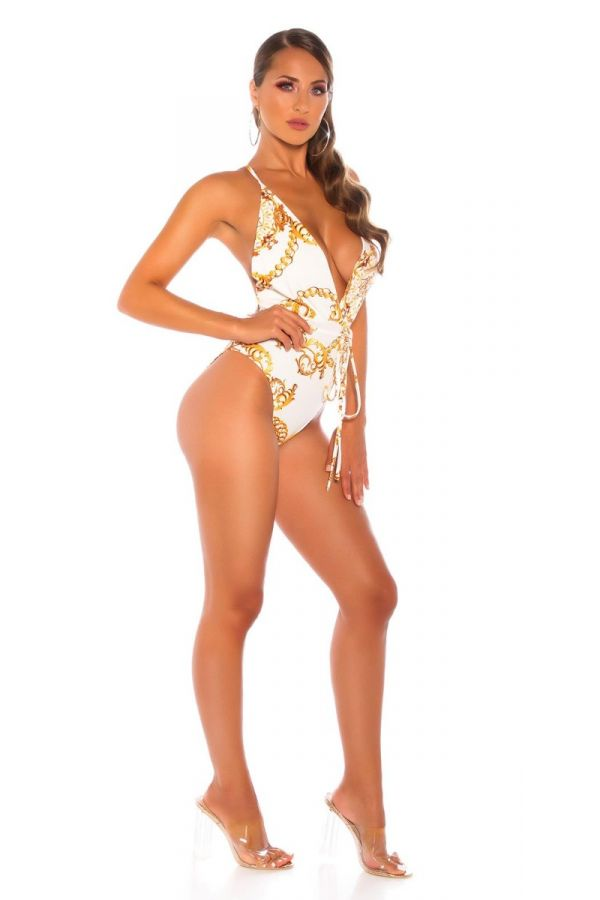 one piece brazil swimsuit belt crossed back gold white.