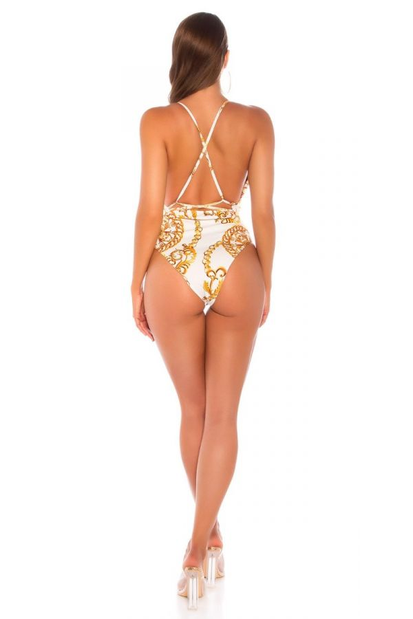 ONE PIECE BRAZIL SWIMSUIT BELT CROSSED BACK GOLD WHITE ISDB9817E