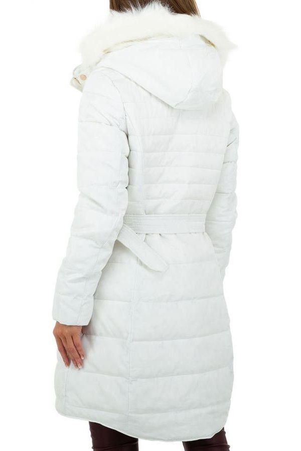 COAT PADDED HOOD FUR WHITE FSWA66941