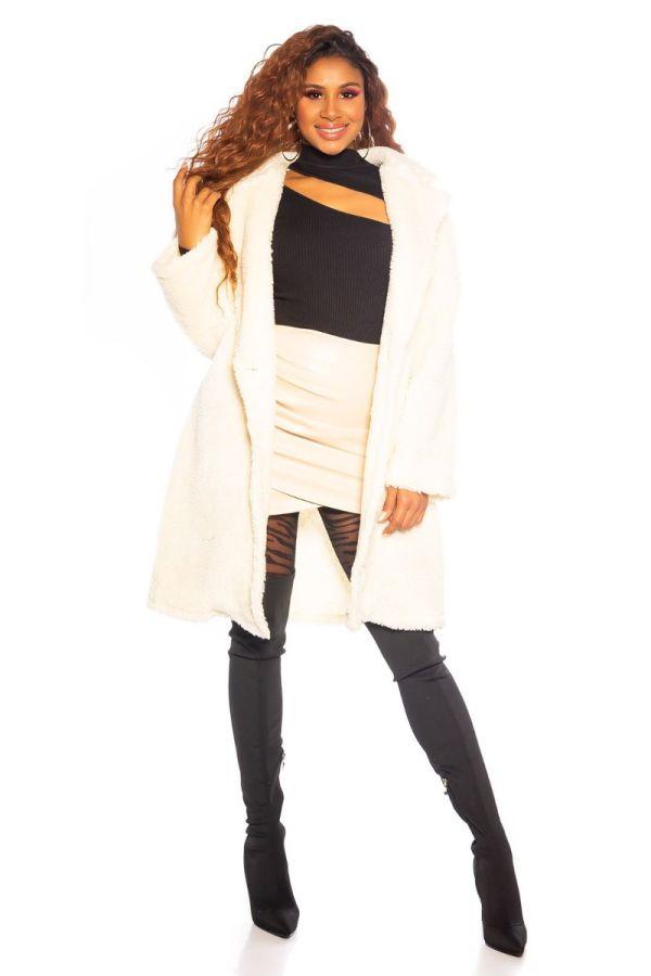 παλτό faux γούνα άσπρο.