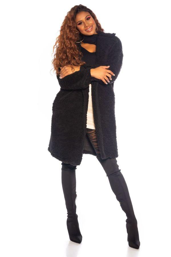 παλτό faux γούνα μαύρο.