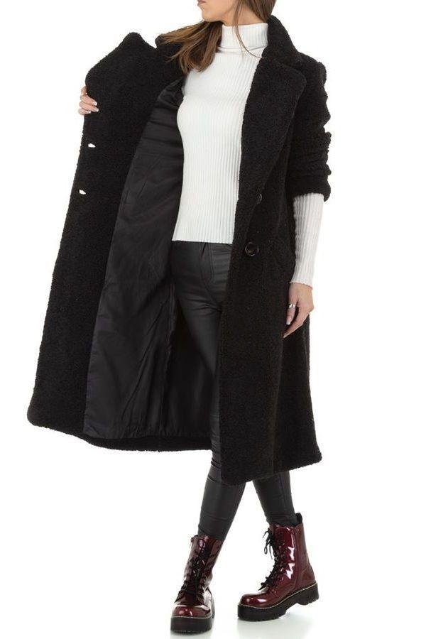 παλτό γούνινο μακρύ μαύρο.