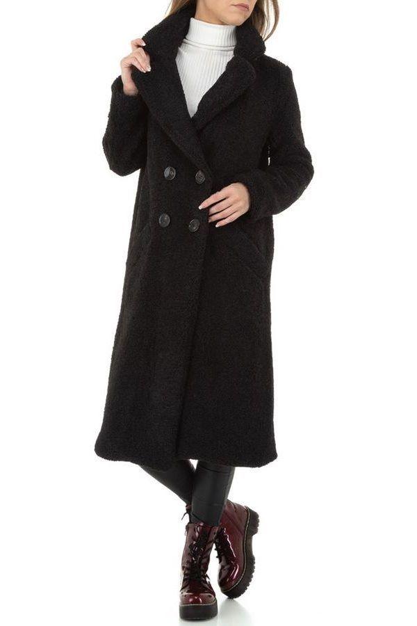 COAT FUR LONG BLACK FSWJ86021
