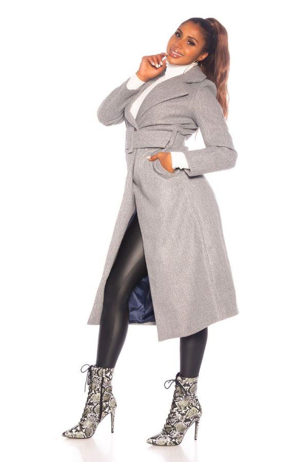 παλτό μακρύ ζώνη γκρι.