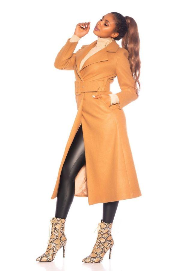 παλτό μακρύ ζώνη καμηλο.