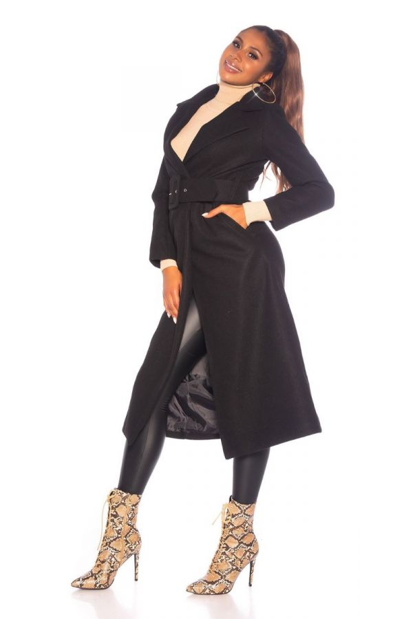 παλτό μακρύ ζώνη μαύρο.