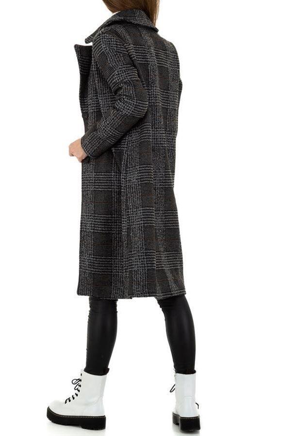 COAT LONG CHECK BLACK GREY FSW10151