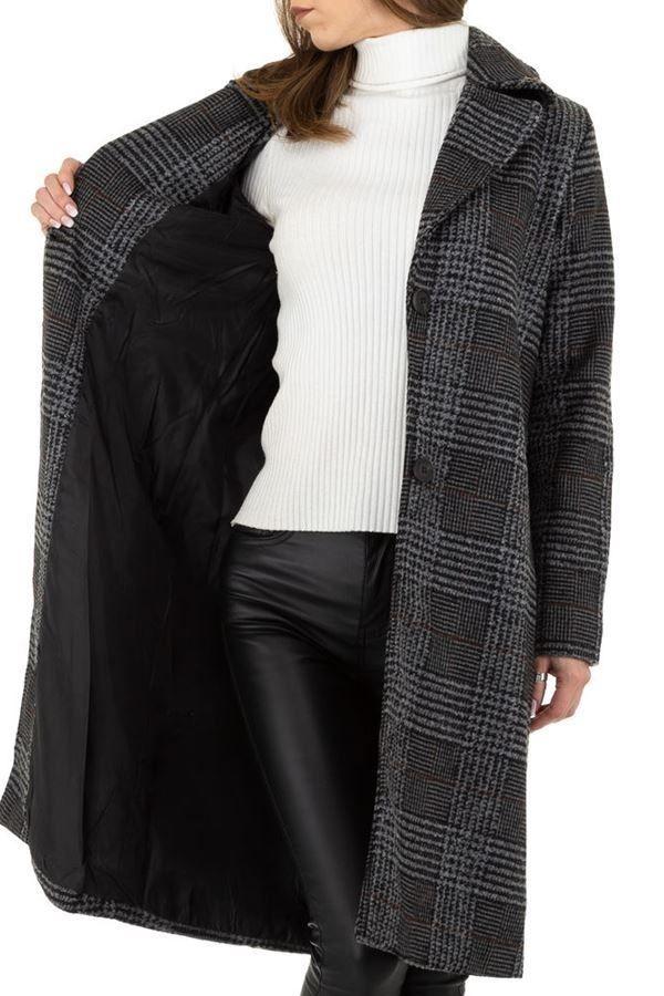 παλτό μακρύ καρό μαύρο γκρι.