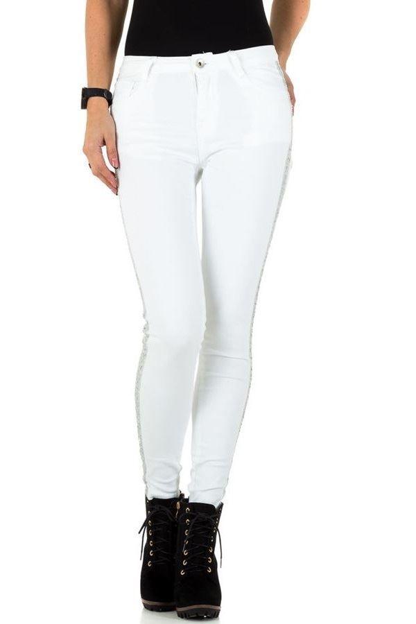 παντελόνι με πλαϊνή ασημί παγιέτες ρίγα άσπρο.