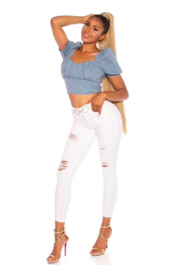 παντελόνι ψηλή μέση σκισίματα άσπρο.