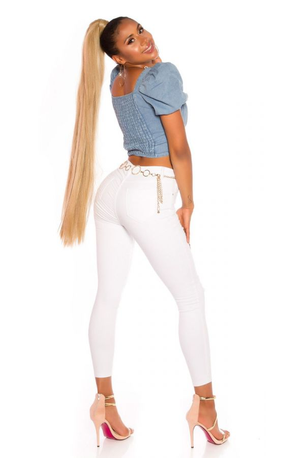 PANTS HIGH WAIST CUTOUTS WHITE ISDJ121744