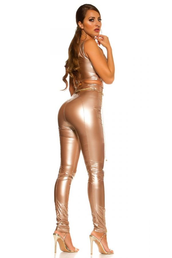 PANTS HIGH WAIST ZIP VINYL GOLD ISDP189611