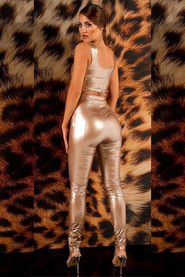 παντελόνι ψηλόμεσο φερμουάρ βινύλιο χρυσό.