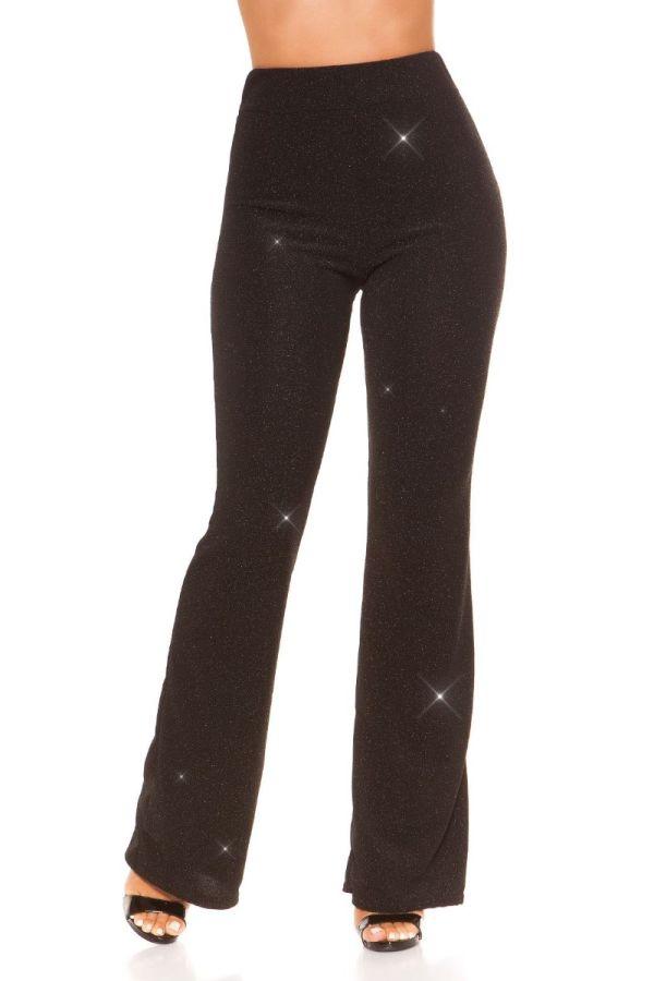 παντελόνι βραδινό καμπάνα γκλιτερ μαύρο.