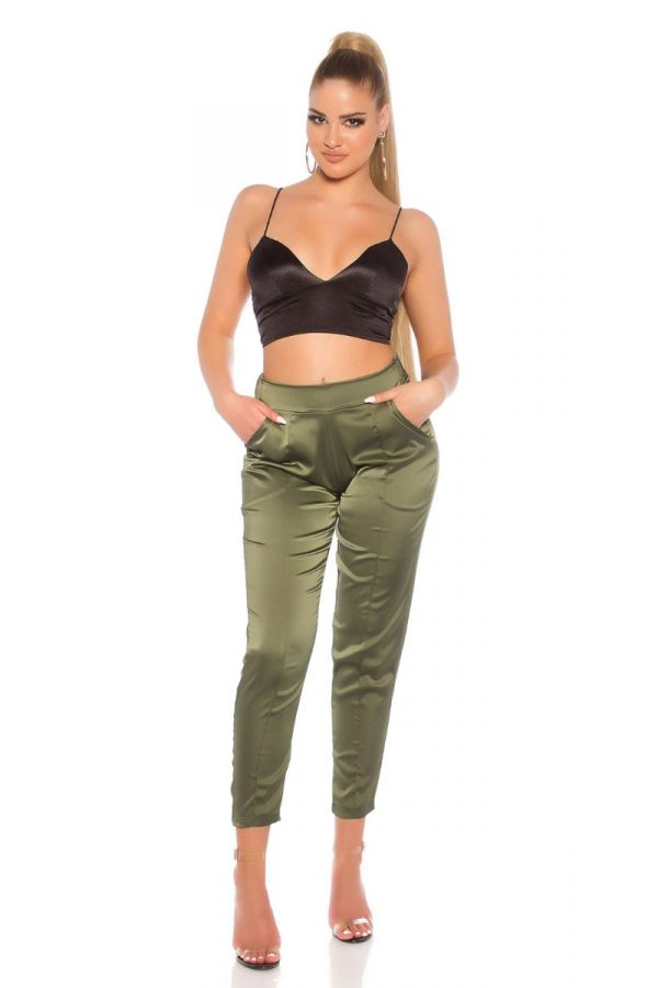 PANTS FORMAL SATIN LOOK OLIVE ISDG81805