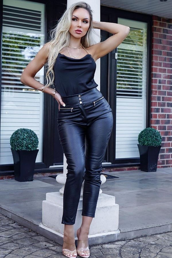 TROUSERS LEATHERETTE HIGH WAIST BLACK CAT20WALLE