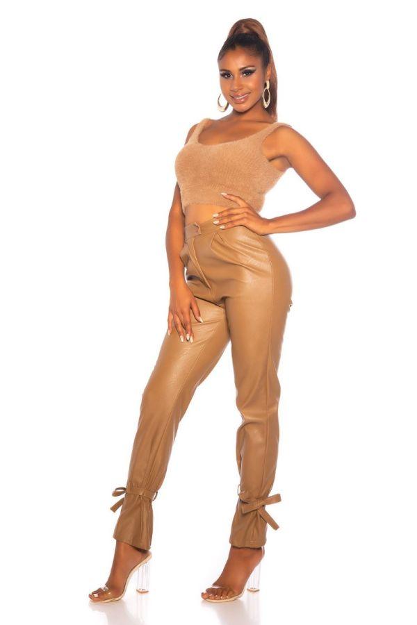 παντελόνι δερματίνη ψηλή μέση camel.