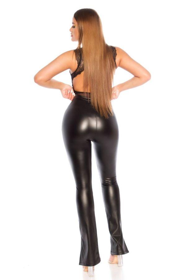 pants leatherette wide legs black.