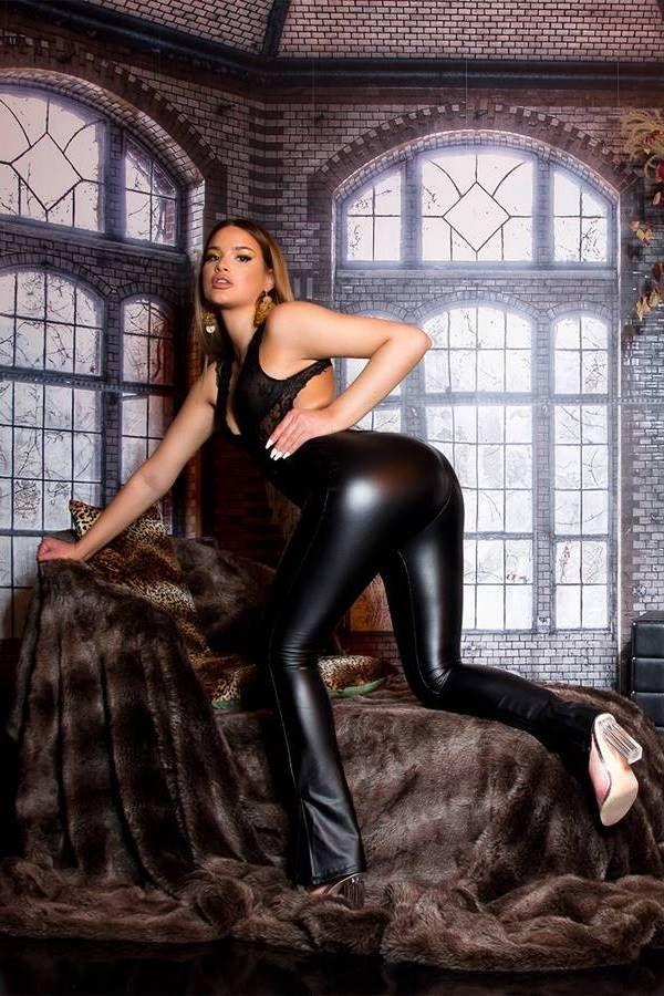 PANTS LEATHRETTE WIDE LEGS BLACK ISDE61362